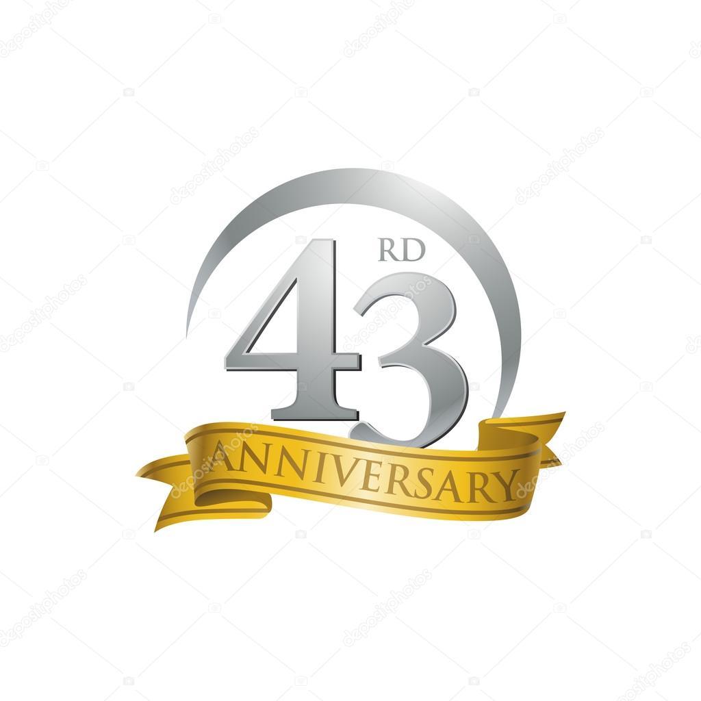 43rd anniversary ring logo gold ribbon stock vector ariefpro