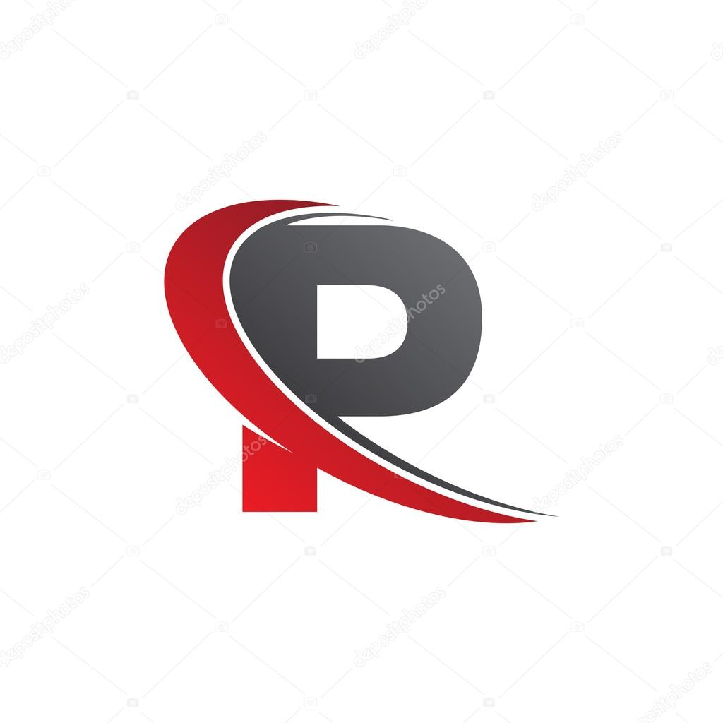 Initial Letter P Swoosh Red Logo Stock Vector