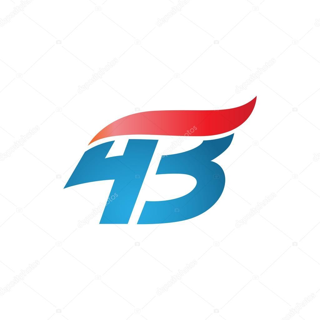 number 43 swoosh design template logo blue red stock vector rh depositphotos com