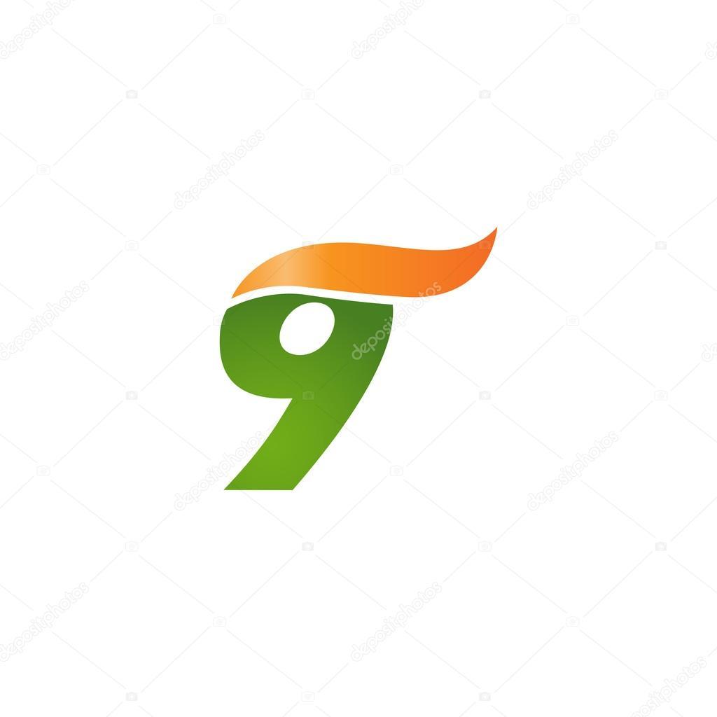 número 9 swoosh diseño onda naranja de plantilla logo verde ...