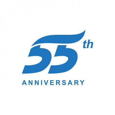 55th anniversary wave logo blue