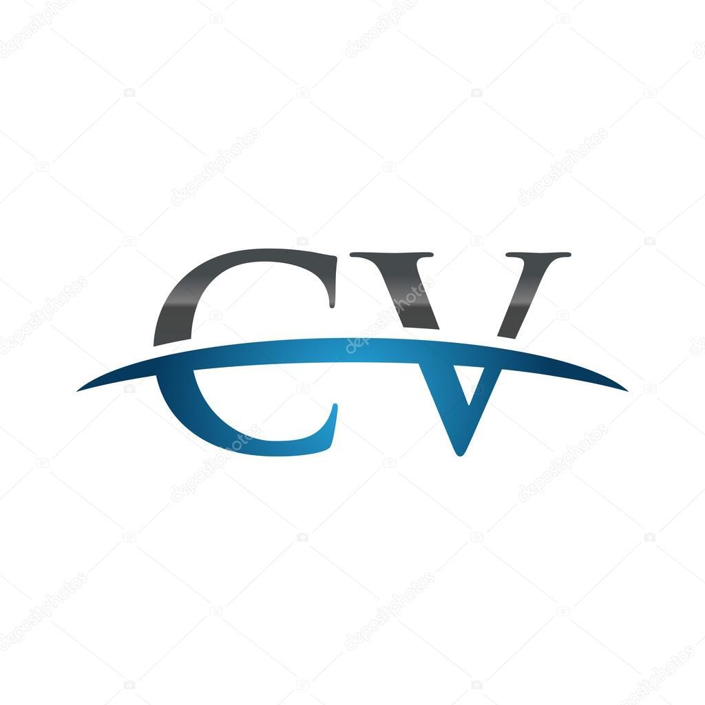 letra inicial azul cv swoosh logo swoosh logo  u2014 vector de stock  u00a9 ariefpro  113779284
