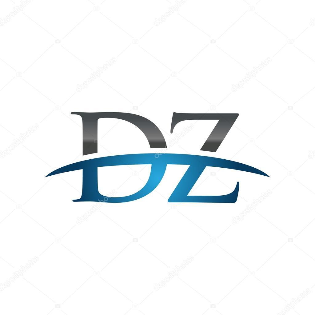 頭文字 Dz 青スウッシュのロゴの...