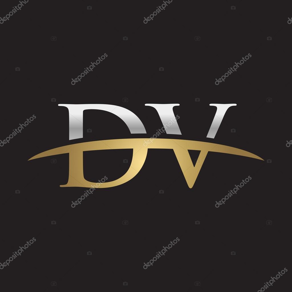 initial letter dv silver gold swoosh logo swoosh logo black