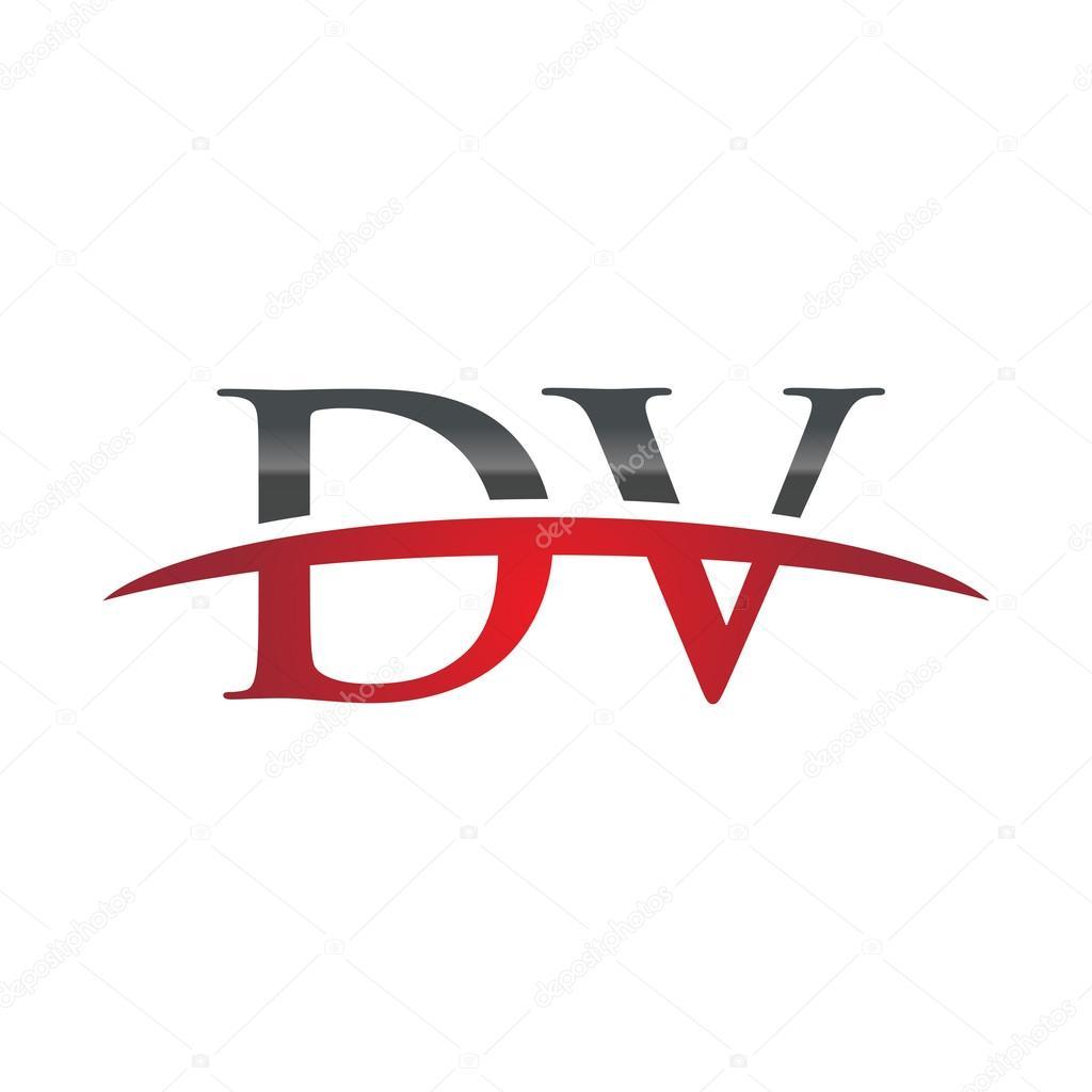 initial letter dv red swoosh logo swoosh logo stock vector