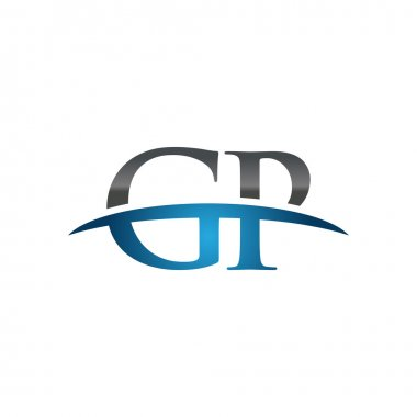 Initial letter GP blue swoosh logo swoosh logo