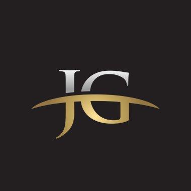 Initial letter JG silver gold swoosh logo swoosh logo black background
