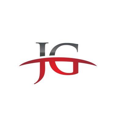 Initial letter JG red swoosh logo swoosh logo