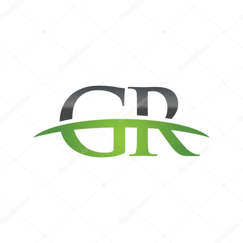 69e397c9e30c Initial letter GR green swoosh logo swoosh logo — Stock Vector ...