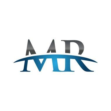 Initial letter MR blue swoosh logo swoosh logo