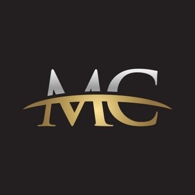 Initial letter MC silver gold swoosh logo swoosh logo black background