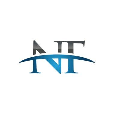Initial letter NF blue swoosh logo swoosh logo