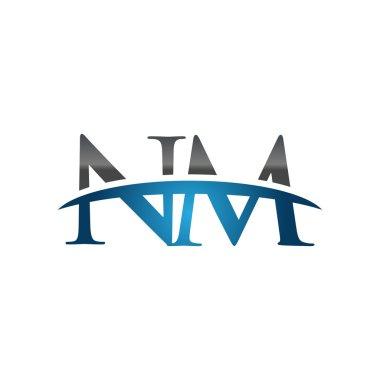Initial letter NM blue swoosh logo swoosh logo
