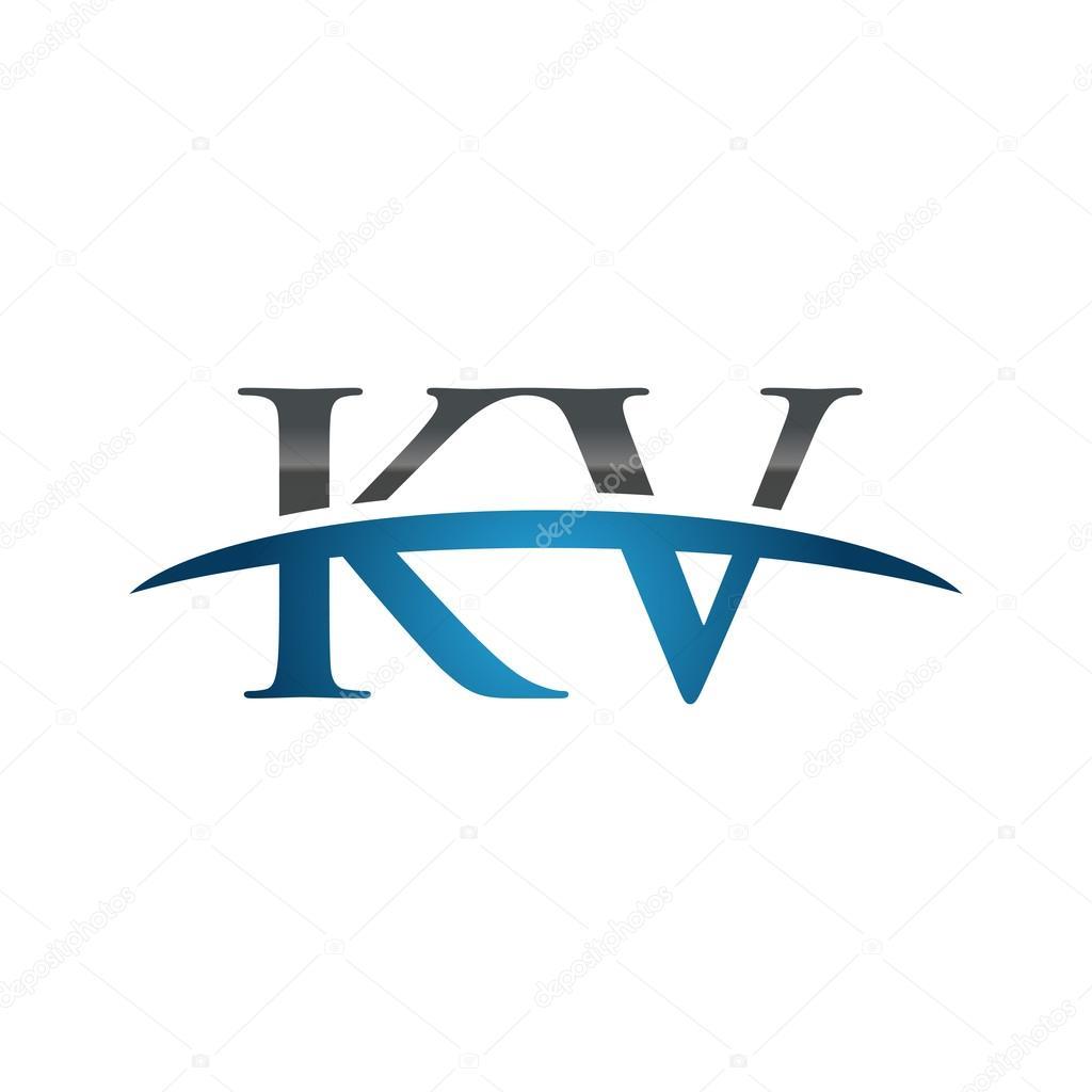 Initial Letter Kv Blue Swoosh Logo Swoosh Logo Stock Vector