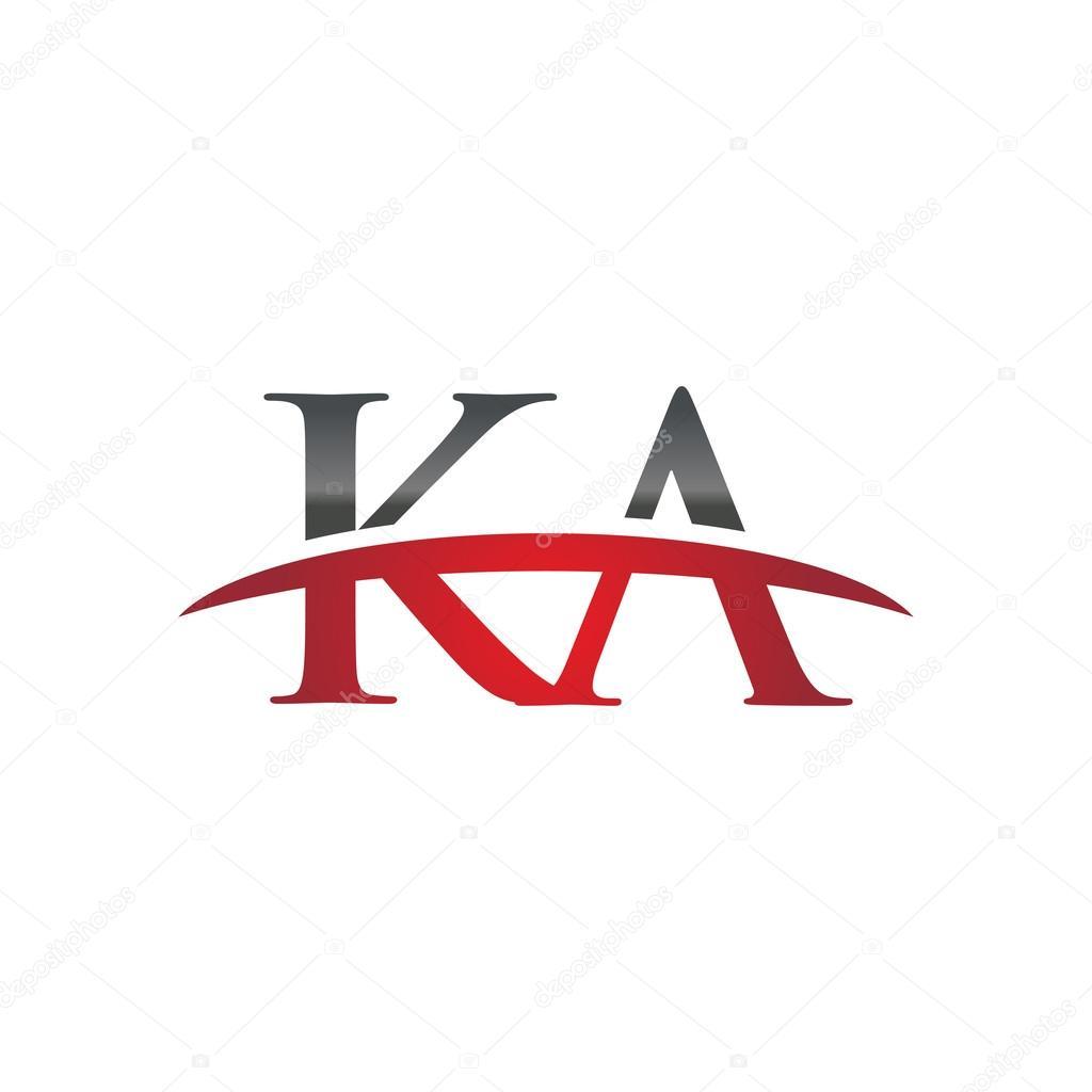 Initial letter KA red swoosh logo swoosh logo — Stock Vector © ariefpro  #113823218