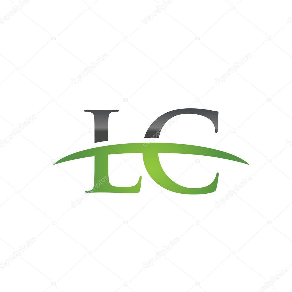 initial letter lc green swoosh logo swoosh logo stock vector
