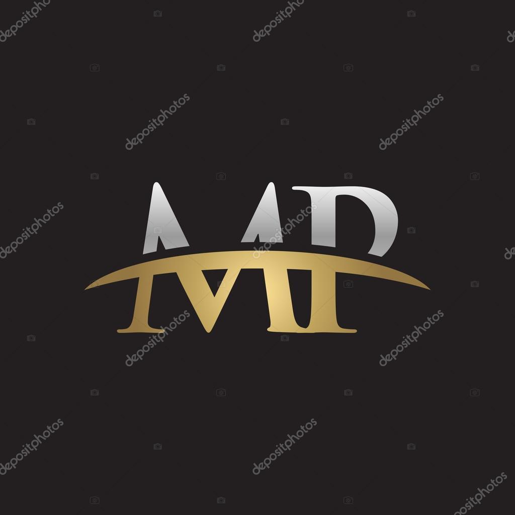 頭文字 mp 銀の金のスウッシュのロゴにロゴ黒背景がシューッという音