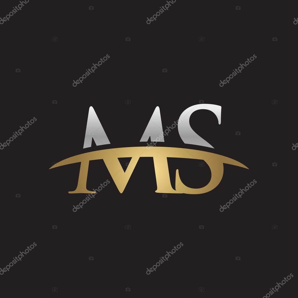 Initial letter ms silver gold swoosh logo swoosh logo black initial letter ms silver gold swoosh logo swoosh logo black background stock vector buycottarizona Image collections