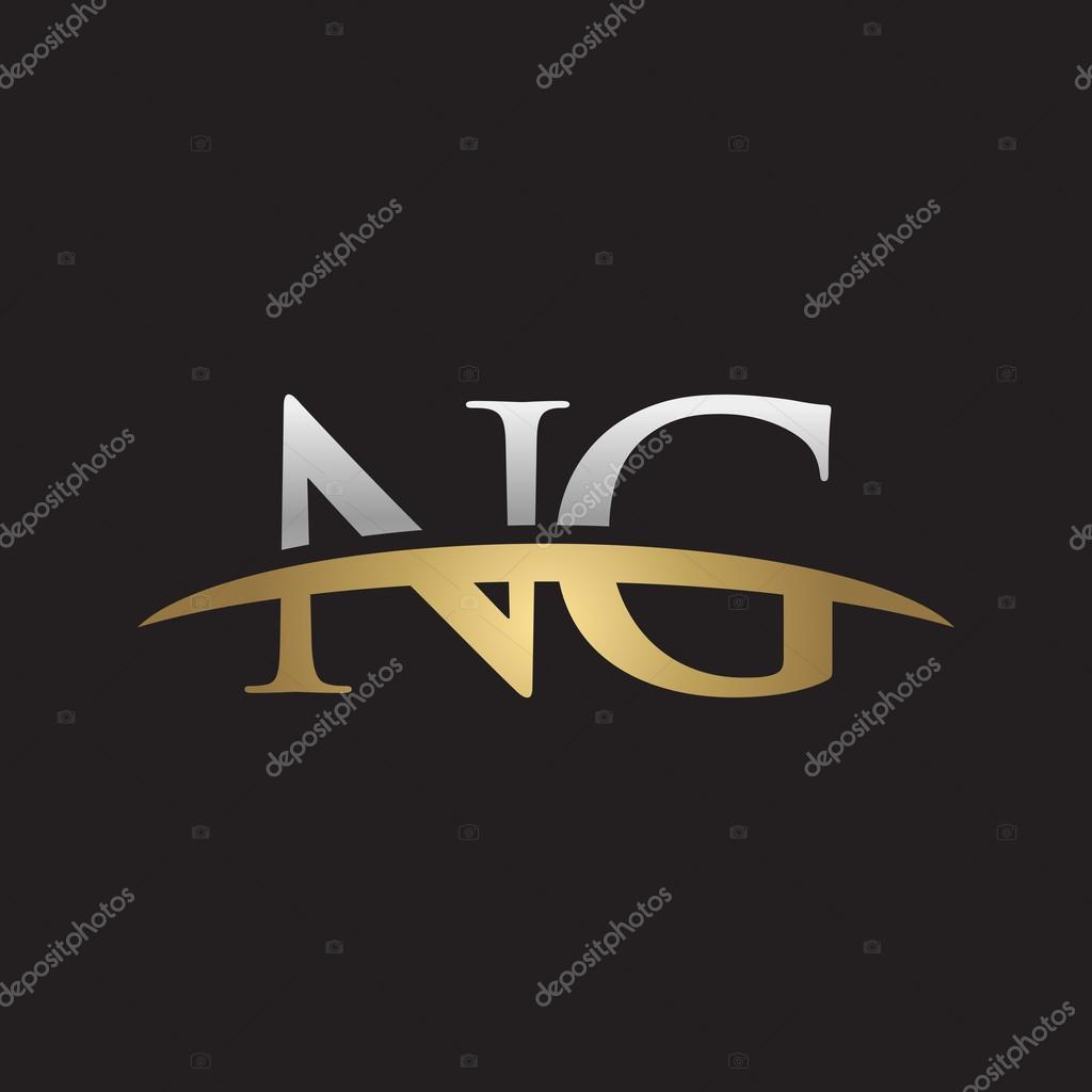 頭文字 Ng の銀の金のスウッシュ...
