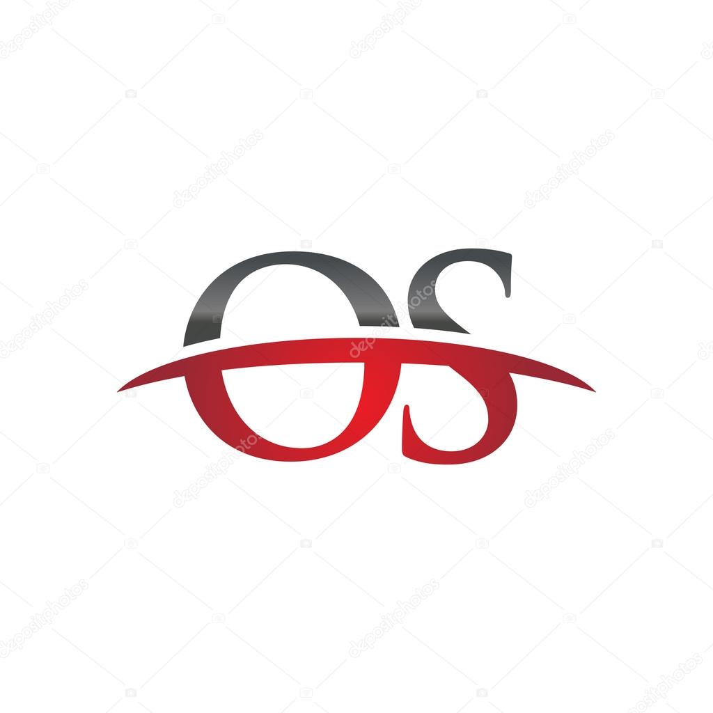 Initial Letter OS Red Swoosh Logo Stock Vector