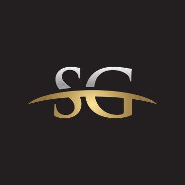 Initial letter SG silver gold swoosh logo swoosh logo black background