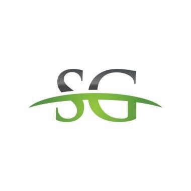Initial letter SG green swoosh logo swoosh logo