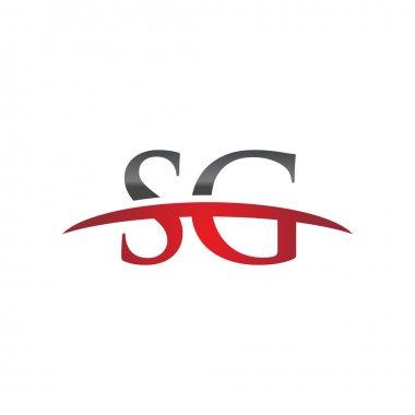 Initial letter SG red swoosh logo swoosh logo