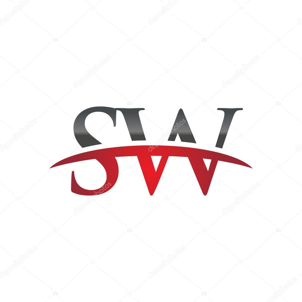 initial letter sw red swoosh logo swoosh logo stock vector