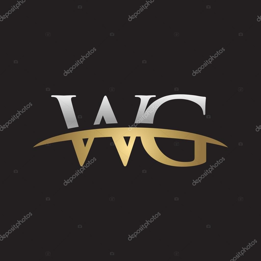Initial Letter WG Silver Gold Swoosh Logo Swoosh Logo Black Background U2014  Stock Vector