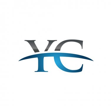 Initial letter YC blue swoosh logo swoosh logo