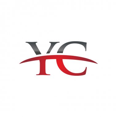 Initial letter YC red swoosh logo swoosh logo