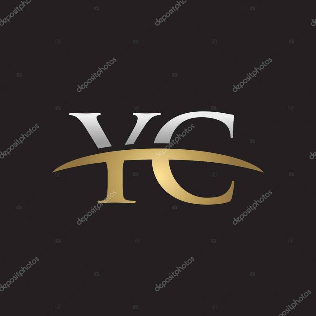 Initial letter YC silver gold ...