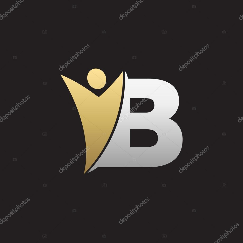 b initial alphabet letter logo with swoosh man silver gold black