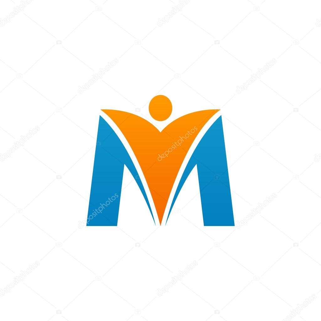 M initial alphabet letter logo with swoosh man orange blue stock m initial alphabet letter logo with swoosh man orange blue stock vector thecheapjerseys Gallery