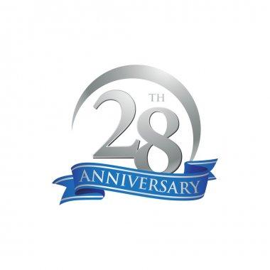 28th anniversary ring logo blue ribbon