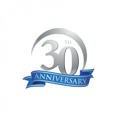 30th anniversary ring logo blue ribbon