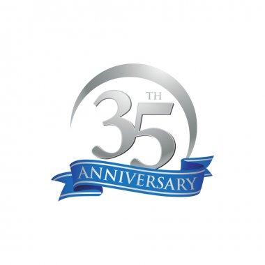 35th anniversary ring logo blue ribbon