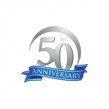 50th anniversary ring logo blue ribbon