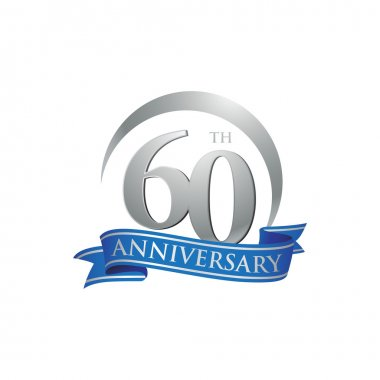 60th anniversary ring logo blue ribbon