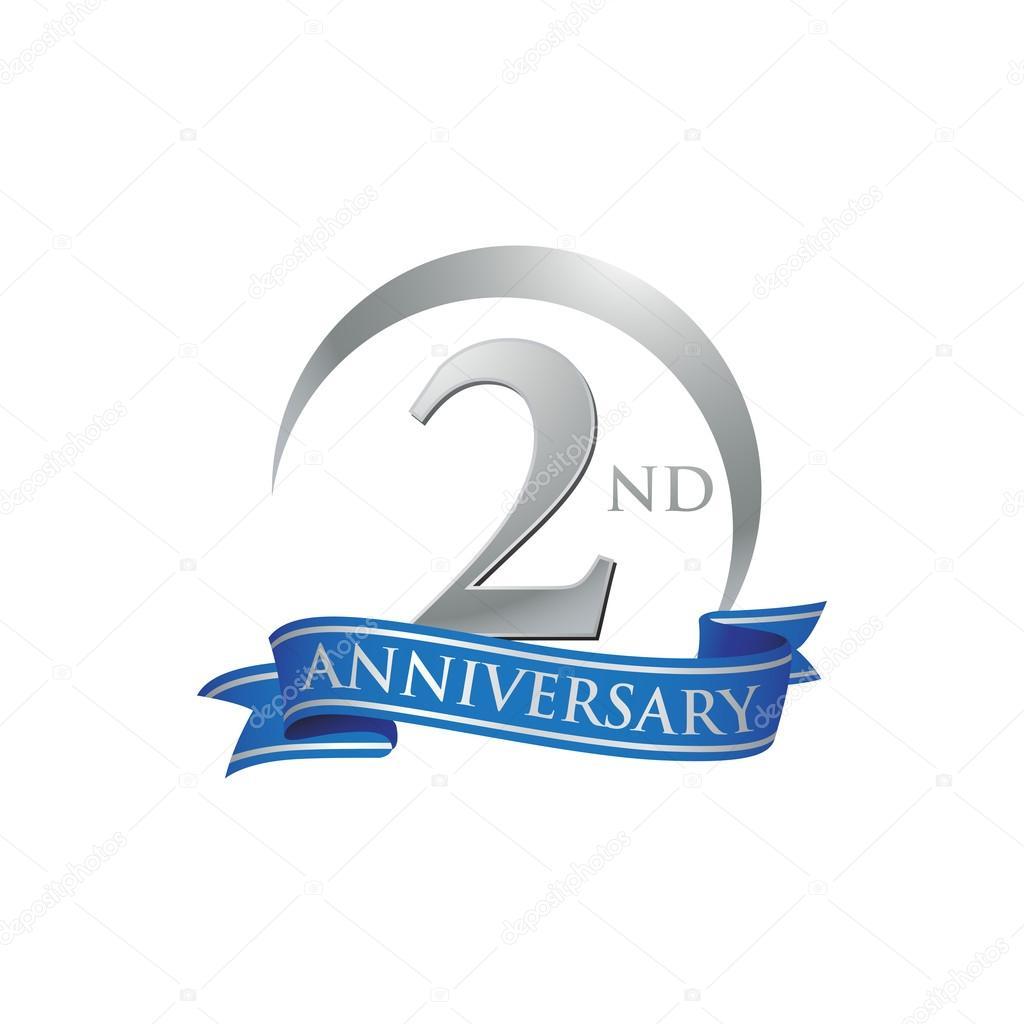 Nd anniversary ring logo blue ribbon stock vector
