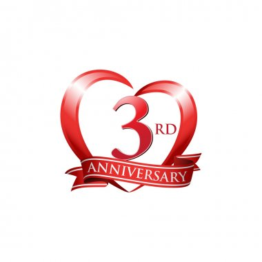 "Картина, постер, плакат, фотообои ""3-я годовщина логотипа красное сердце "", артикул 86351126"