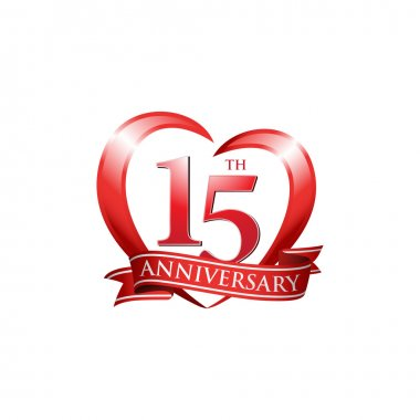 15th anniversary logo red heart