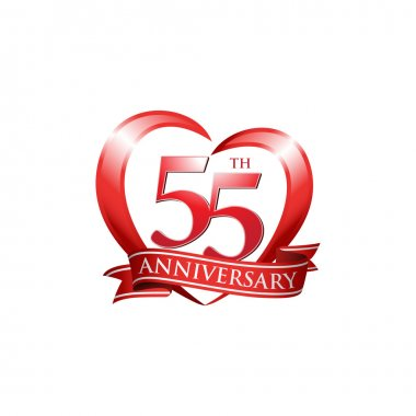 55th anniversary logo red heart