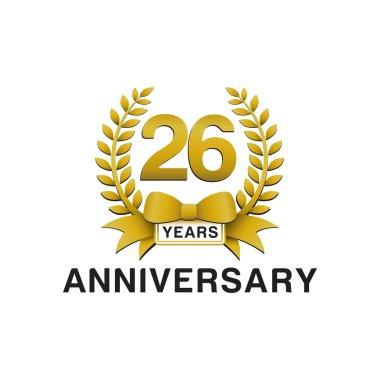 26th anniversary golden wreath logo