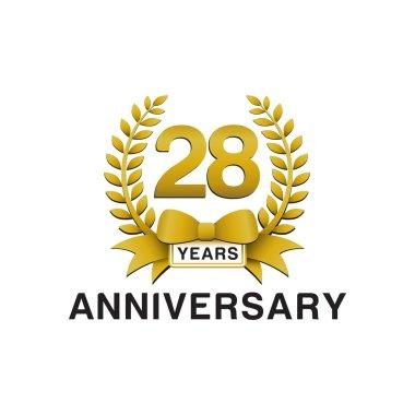 28th anniversary golden wreath logo