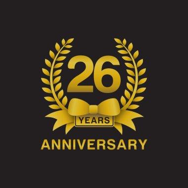 26th anniversary golden wreath logo black background