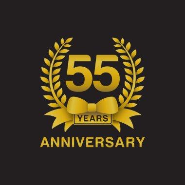 55th anniversary golden wreath logo black background