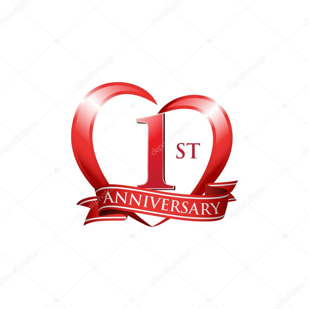 1st anniversary logo red heart stock vector c ariefpro 86351092 https depositphotos com 86351092 stock illustration 1st anniversary logo red heart html