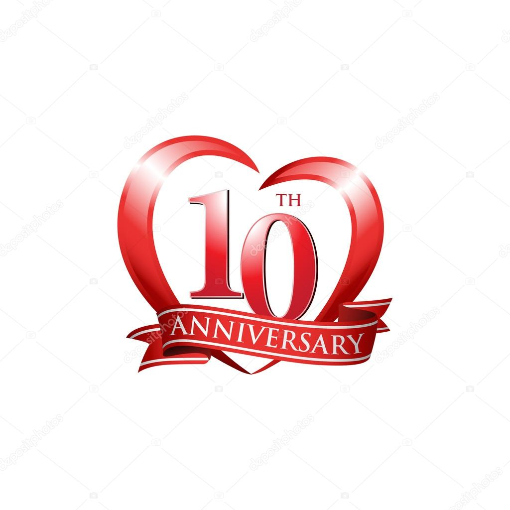 10th Anniversary Logo Red Heart Stock Vector Ariefpro 86351224