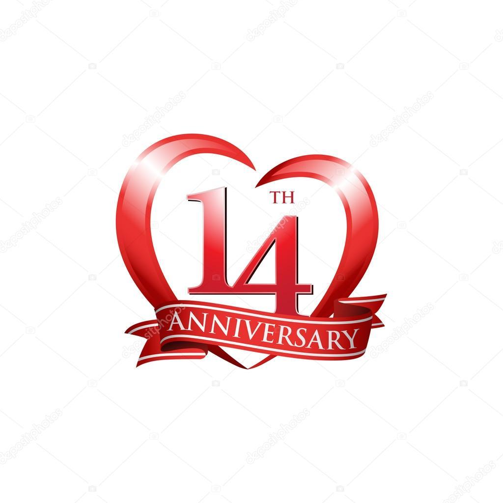 14 Anniversario Di Matrimonio.14th Anniversary Logo Red Heart Stock Vector C Ariefpro 86351284